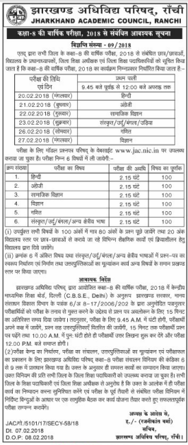 www.jac.nic.in Class 8 Result 2018