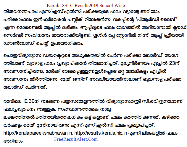 Kerala SSLC Result 2019 School Wise