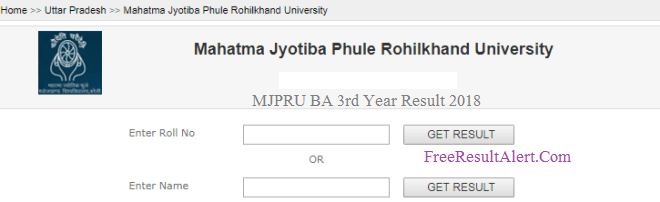 MJPRU BA 3rd Year Result 2018