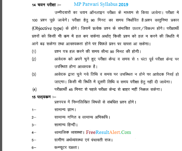 MP Patwari Syllabus 2019