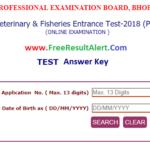 MP PVFT Answer Key 2018 {27 May} MP Pre Veterinary and Fisheries Test Question Paper Solution