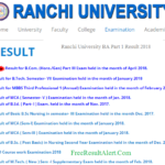Ranchi University BA Part 1 Result 2018 @www.ranchiuniversity.ac.in