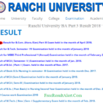 Ranchi University BA Part 3 Result 2018 घोषित यहाँ देखें www.ranchiuniversity.ac.in