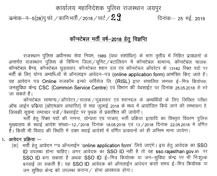 rajasthan police notification 2018