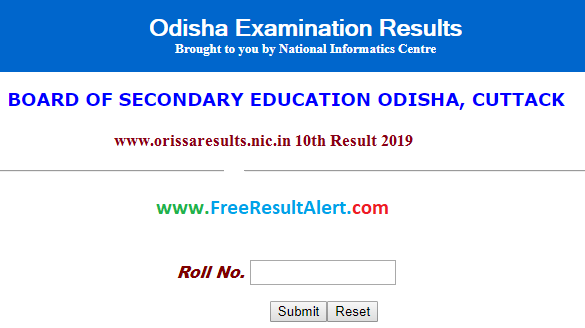 www.orissaresults.nic.in 10th Result 2019