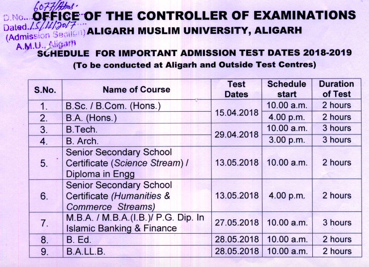 AMU BA BSC BCOM Time Table 2019