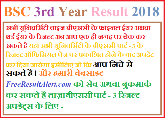 BSC 3rd Year Result 2018
