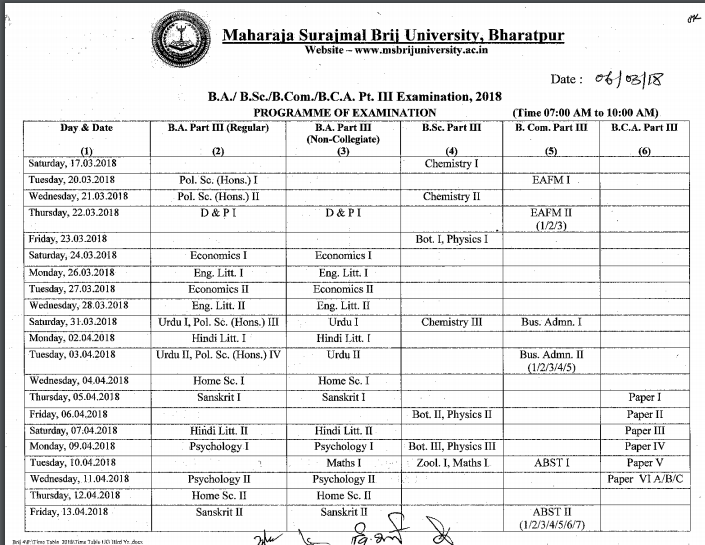 Brij University Time Table 2019