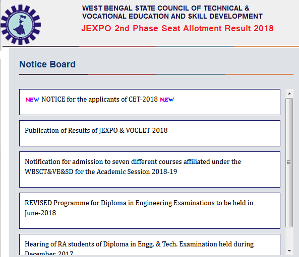 JEXPO 3rd Phase Seat Allotment Result 2018