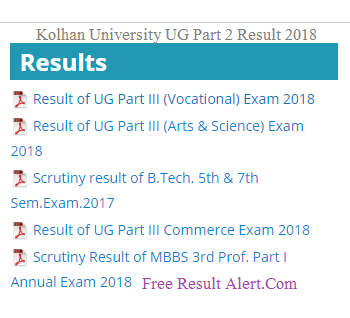 Kolhan University UG Part 2 Result 2018