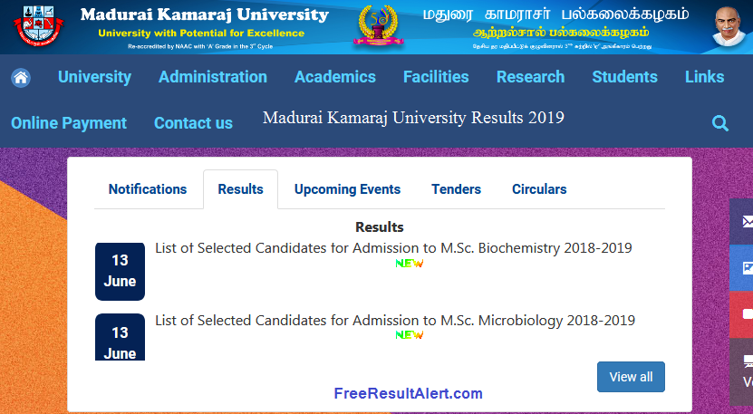 Madurai Kamaraj University Result 2019