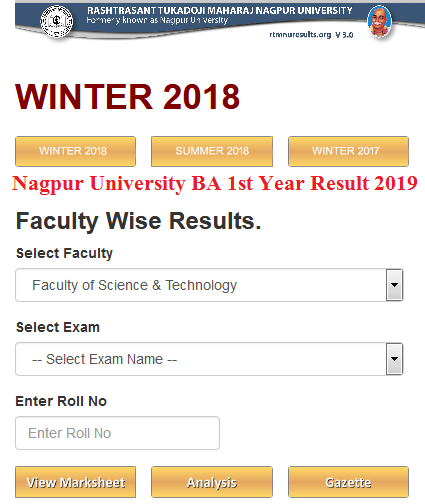 Nagpur University BA 1st Year Result 2019