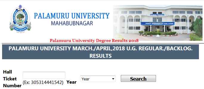 Palamuru University Degree Results 2018