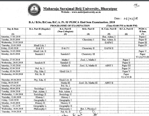MSBU Time Table 2018