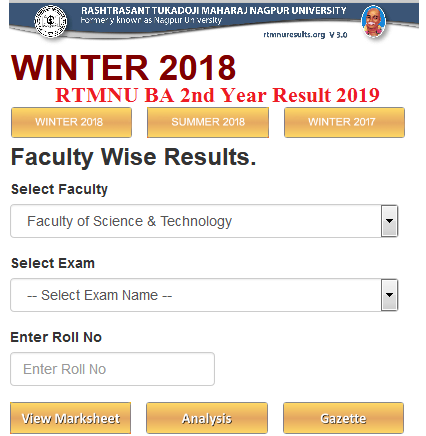 RTMNU BA 2nd Year Result 2019