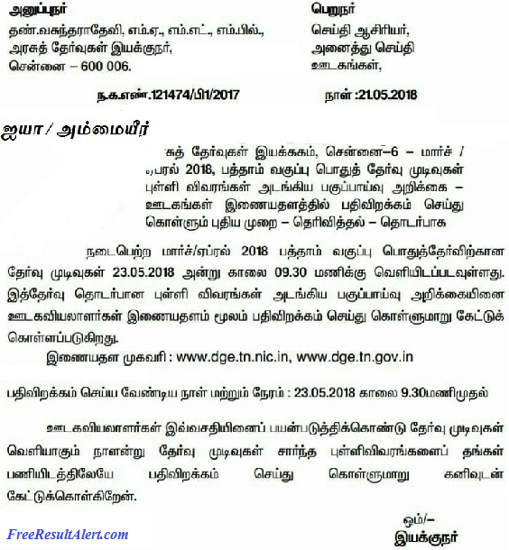 TN SSLC Result 2019 Without Date of Birth