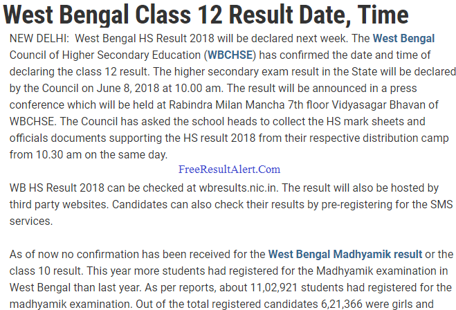www.wbresults.nic.in HS Result 2019
