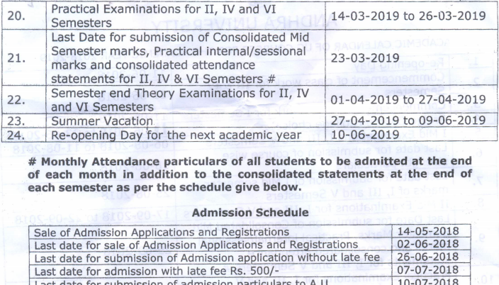 Andhra University Degree Time Table 2019