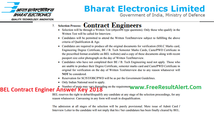 BEL Contract Engineer Answer Key 2018