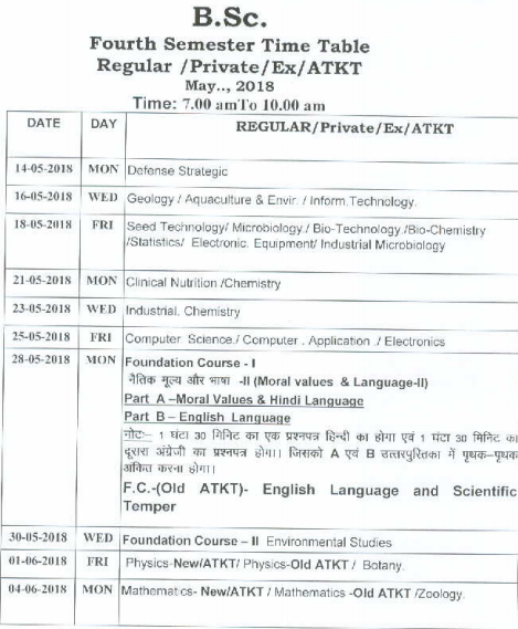 Barkatullah University Time Table 2019