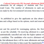 Calicut University PG Second Allotment 2018