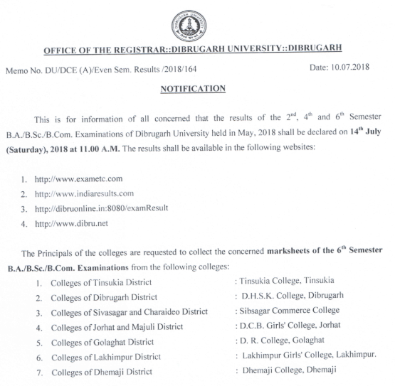 www.dibru.ac.in Result 2018 Dibrugarh University