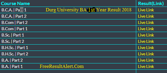Durg University BA 1st Year Result 2018