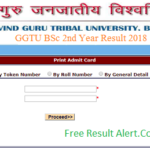 GGTU BSc 2nd Year Result 2018