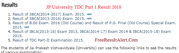 JP University TDC Part 1 Result 2018