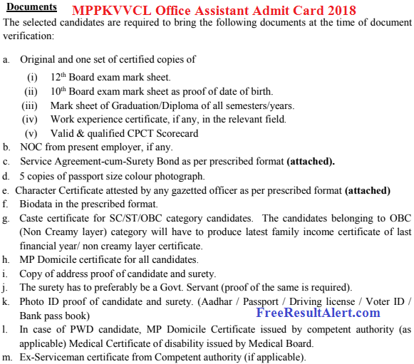 MPPKVVCL Office Assistant Admit Card 2018