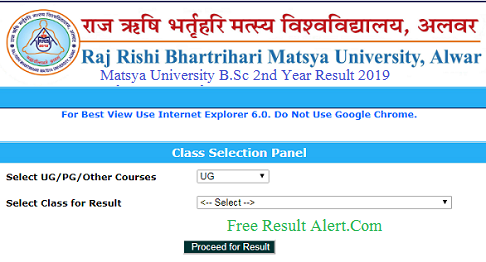 Matsya University BSc 2nd Year Result 2019