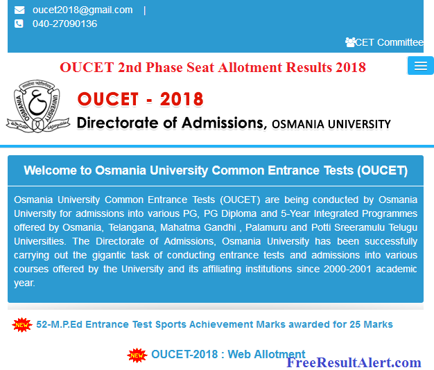 OUCET 2nd Phase Seat Allotment Results 2018