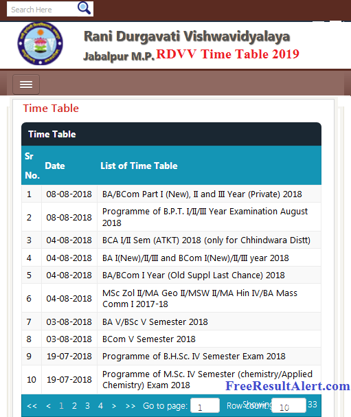 RDVV Time Table 2019