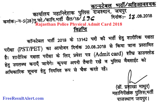 Rajasthan Police Physical Admit Card 2018