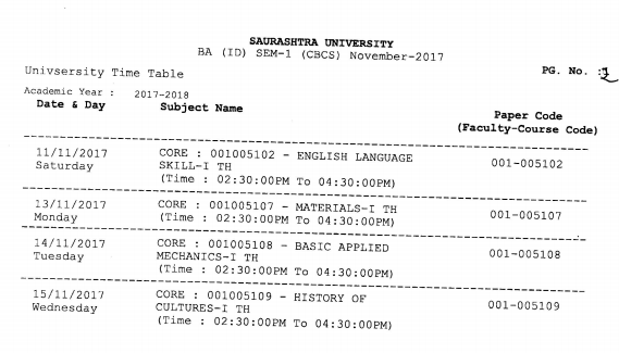 SP University Time Table 2019