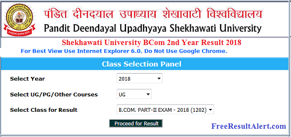 Shekhawati University BCom 2nd Year Result 2018