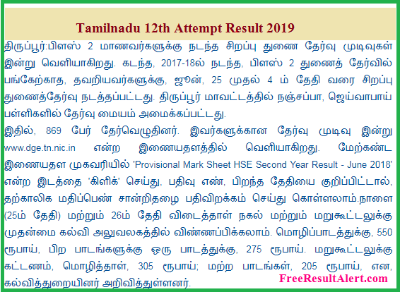 Tamilnadu 12th Attempt Result 2019