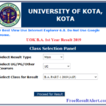 UOK BA 1st Year Result 2019