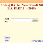 Uniraj BA 1st Year Result 2018