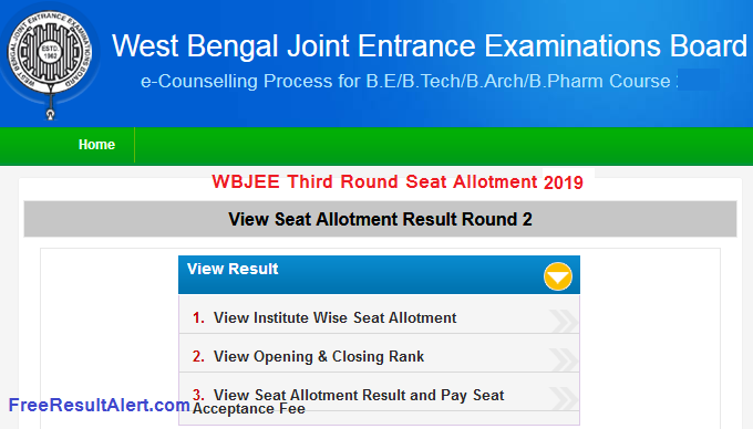 WBJEE Third Round Seat Allotment 2019