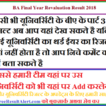 BA Final Year Revaluation Result 2018
