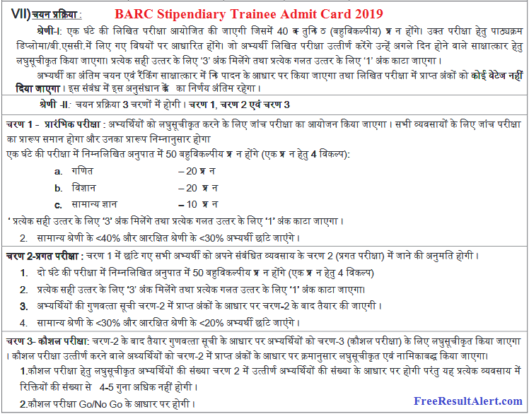 BARC Stipendiary Trainee Admit Card 2019