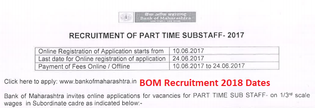 Bank of Maharashtra Sub Staff Admit Card 2018