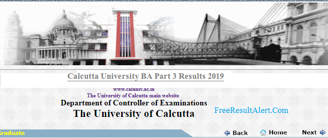 Calcutta University BA Part 3 General Result 2019