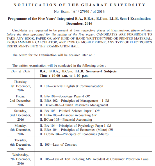 Gujarat University Time Table 2019