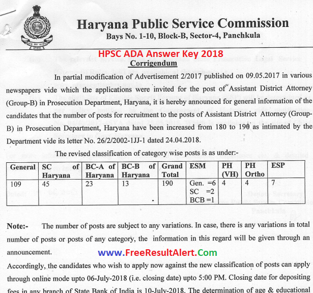 HPSC ADA Answer Key 2018
