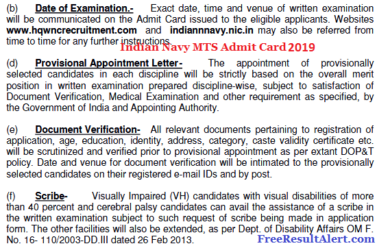 Indian Navy MTS Admit Card 2019