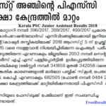 Kerala PSC Junior Assistant Results 2018