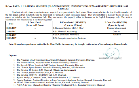 Karnataka University Time Table 2019