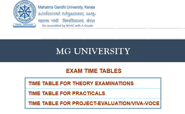 MG University Time Table 2019
